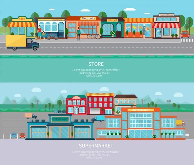 Laden sie und supermarktgebäude mit horizontalen fahnen der straße und des parkens ein