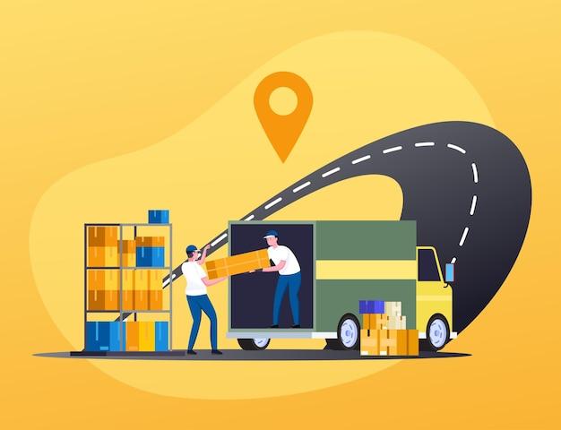 Laden von kisten mit paketen auf lkws durch kurierarbeiter zur lieferung an kunden