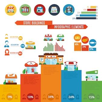 Ladengebäude infografiken