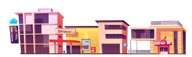 Ladengebäude, markenkleidungsgeschäft, supermarkt, kaffeehaus und fassade der sushi-bar. außenansicht der modernen stadtarchitektur, vorderansicht des marktplatzes lokalisiert auf weißer hintergrundkarikaturillustration