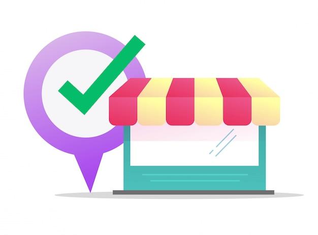 Ladengeschäft einzelhandelsgeschäft standort vektor flaches cartoon-gebäude