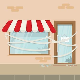 Ladengeschäft oder café ist bankrott und geschlossen