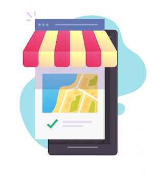 Ladengeschäft oder café-restaurant-stadtplanstandort auf handy-smartphone-vektor-flachkarikaturillustration