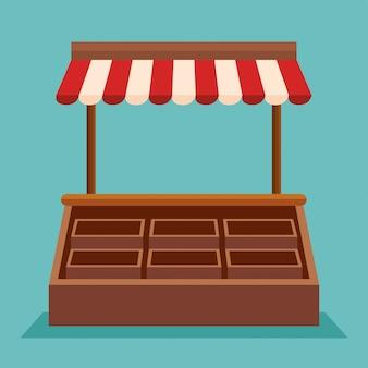 Ladenmarkt mit korb zum boutiqueverkauf