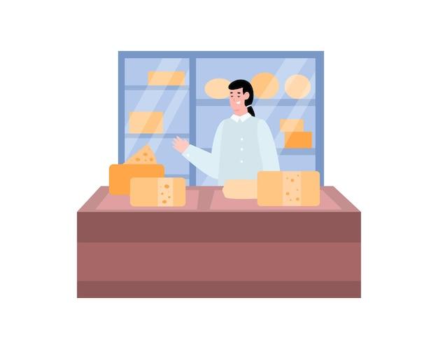 Ladentheke mit einer käseverkäuferkarikaturillustration auf weiß on