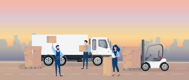 Ladung in das auto laden. umzugsunternehmen tragen kisten. das konzept von umzug und lieferung. lkw, gabelstapler, lader. .