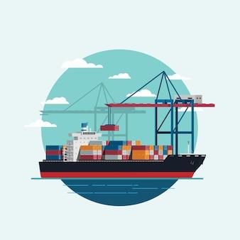Ladungslogistik, die beladenes containerschiff mit arbeitskranimportexport-transportindustrie ist
