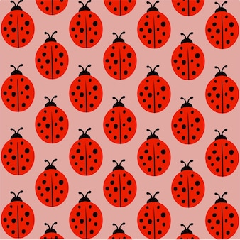 Lady beetle muster hintergrund social media post vector illustration