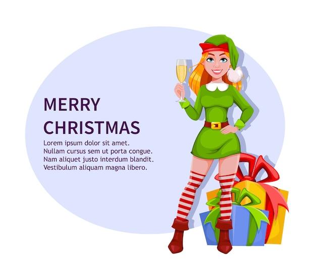 Lady elf frohe weihnachten und ein gutes neues jahr