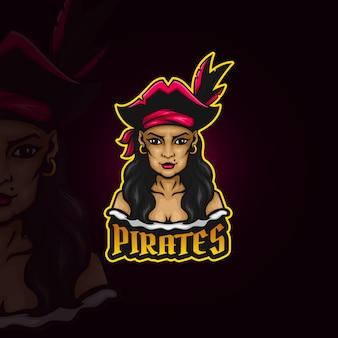 Lady pirate esport logo