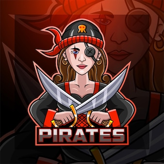 Lady pirates esport maskottchen logo-design