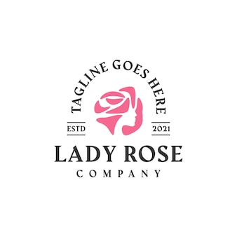 Lady rose frauen weibliche blume logo design-vorlage