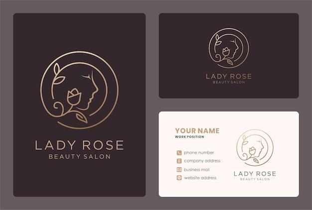 Lady rose logo mit visitenkartendesign in goldener farbe.