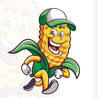 Lächeln corn hat maskottchen cartoon running