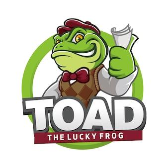 Lächeln-frosch-krötenmaskottchen-logo