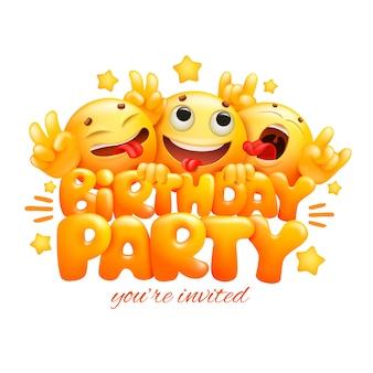 Lächeln gelbe gesichter emoji-zeichentrickfiguren. geburtstagsfeier karte.