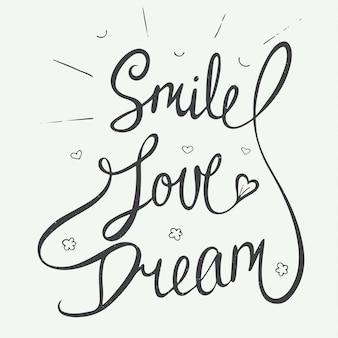 Lächeln, lieben, träumen mit kleinen herzen