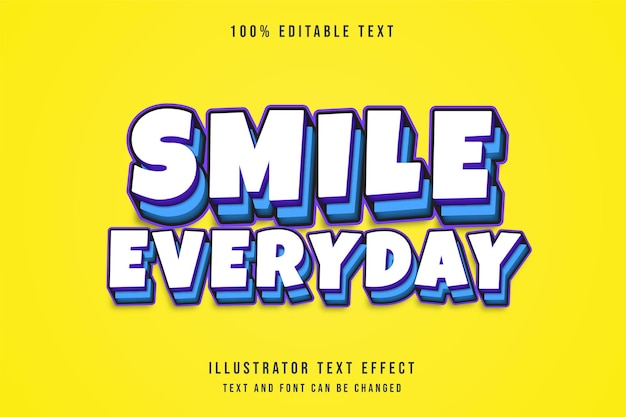 Lächeln sie jeden tag bearbeitbaren texteffekt mit lila abstufung