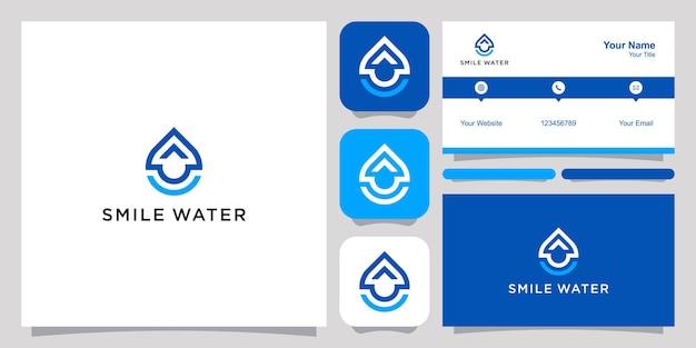 Lächeln wasser logo und visitenkarte.