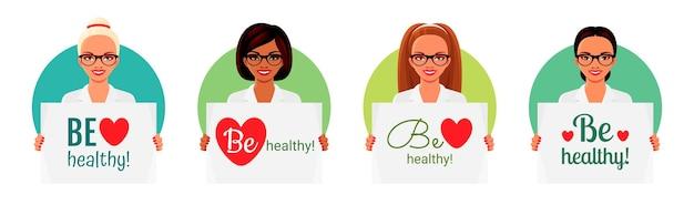 Lächelnde asiatisch-indische und europäische krankenschwestern oder ärzte, die poster mit text halten, seien gesund