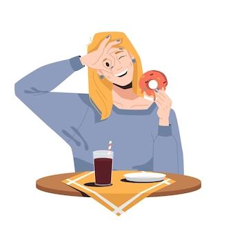 Lächelnde blonde frau, die donut isst und soda trinkt, lokalisiertes mädchen im café- oder restaurantvektor