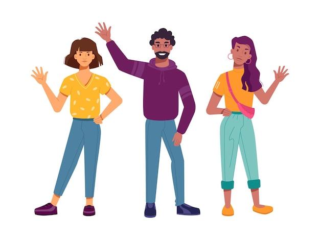 Lächelnde charaktere aus verschiedenen rassen, die hand winken