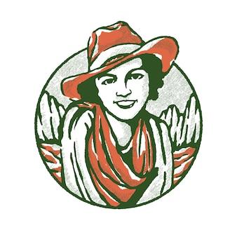 Lächelnde cowgirl-abbildung