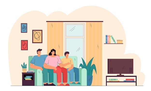 Lächelnde familie, die auf couch sitzt und ferngesteuerte flache illustration des fernsehens sieht