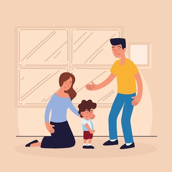 Lächelnde familienadoption