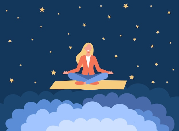 Lächelnde frau, die auf yogamatte meditiert. karikaturillustration