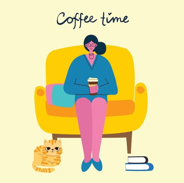 Lächelnde frau, die kaffee trinkt. kaffeezeit, pause und entspannung konzeptkarten. illustration im modernen flachen designstil