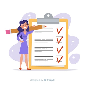 Lächelnde frau, die riesigen checklistenhintergrund überprüft