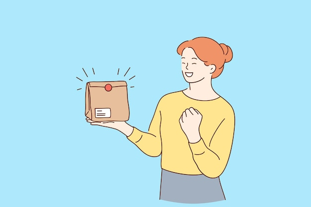 Lächelnde frau zeichentrickfigur mit imbissbox