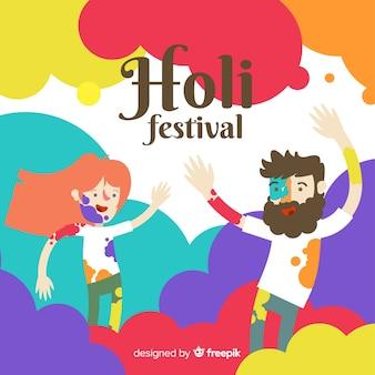 Lächelnde freunde holi festivalhintergrund