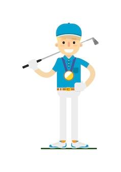 Lächelnde gewinnende goldmedaille des golfspielers