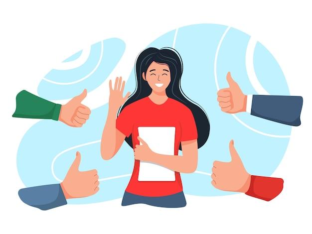 Lächelnde glückliche junge frau, umgeben von händen mit daumen hoch. das konzept der öffentlichen anerkennung, anerkennung, akzeptanz und wertschätzung. illustration im flachen stil der karikatur.