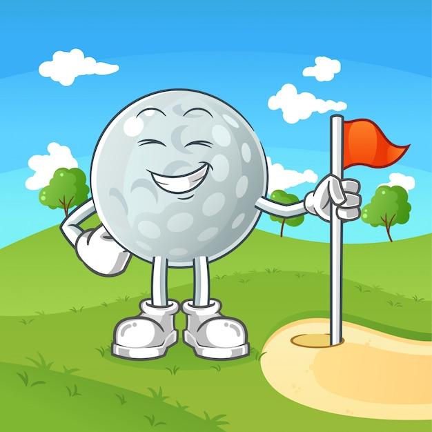 Lächelnde golfball-zeichentrickfigur