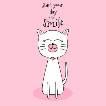 Lächelnde hand gezeichnete art der netten katze