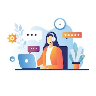 Lächelnde junge frau betreiber mit headset im gespräch mit kunden. zeichentrickfiguren für call-center-konzept. support-service, online-telefonberater illustration
