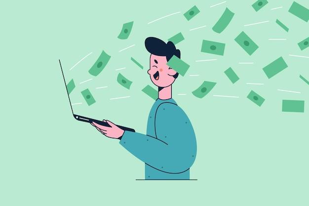 Lächelnde junge mannkarikaturfigur, die mit laptop in händen steht und viel geld in den sozialen medien gewinnt, die glückliche illustration fühlen