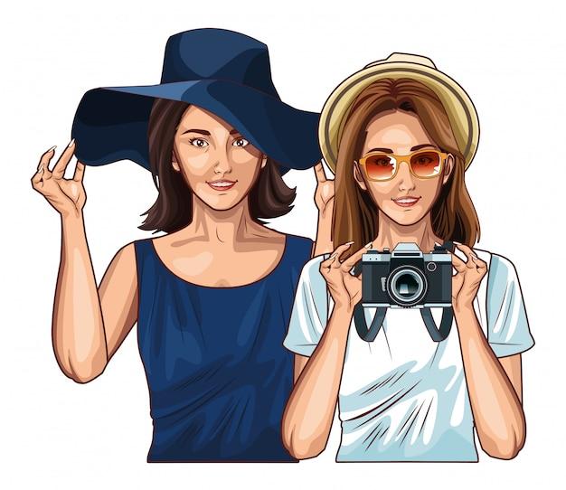 Lächelnde karikatur der pop-arten-freundinnen