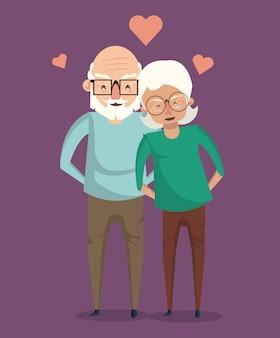 Lächelnde karikatur der schönen älteren paare