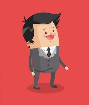 Lächelnde karikatur des geschäftsmannes