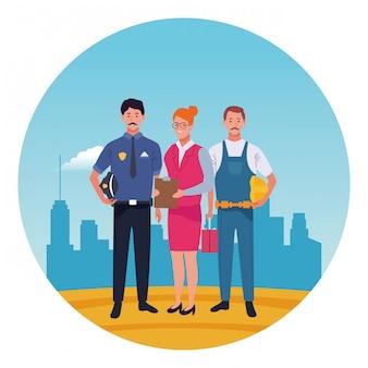 Lächelnde karikaturen der berufsarbeitskraftcharaktere runden ikone
