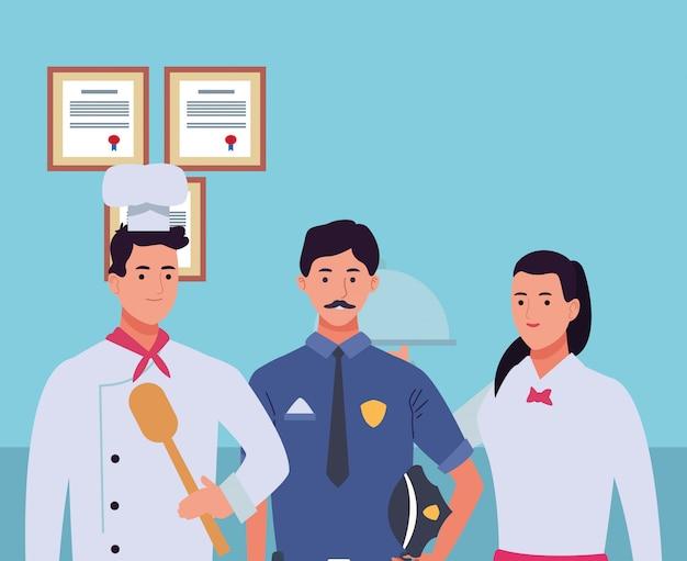 Lächelnde karikaturen der berufsarbeitskraftcharaktere