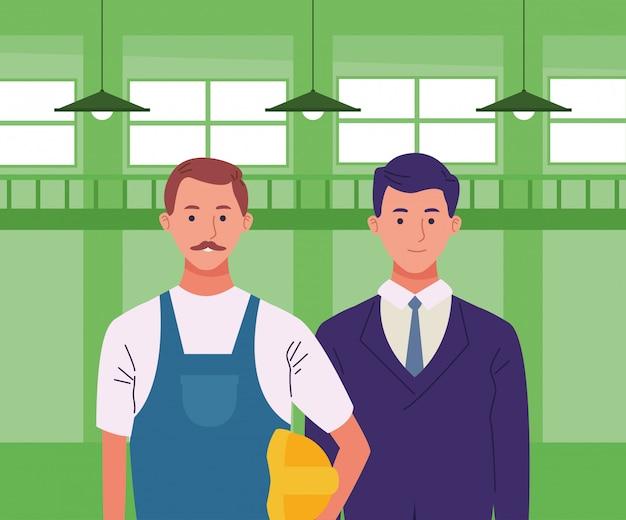 Lächelnde karikaturen der berufsarbeitskraftpaare