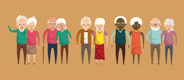 Lächelnde karikaturen der netten großelternpaare