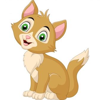 Lächelnde katzenkarikatur lokalisiert auf weiß