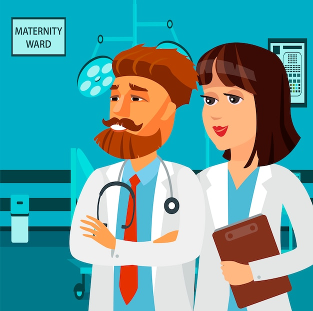 Lächelnde krankenschwester, sanitäter zeichentrickfiguren.