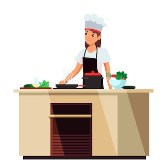 Lächelnde mädchenköchin in der uniform, die essen zubereitet